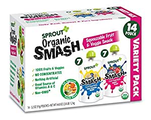 Sprout Organic SMASH, Organic Fruit Snack Pouches, Fruit and Vegetable Puree Variety Pack, 3.2 Ounce