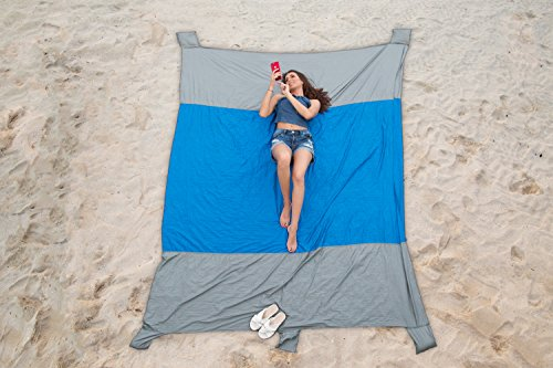 Nylon Ripstop Water (Trailevation Outdoor Beach Blanket | Built-In Sand Pocket Anchors | Lightweight, Portable Ripstop Parachute Nylon | Water and Weather Resistant | 7' X 9' Extra Large)