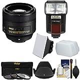 Nikon 85mm f/1.8G AF-S Nikkor Lens with 3 Filters + Flash & 2 Diffusers + Kit for D3200, D3300, D5200, D5300, D7000, D7100, D610, D800, D810, D4s DSLR Cameras