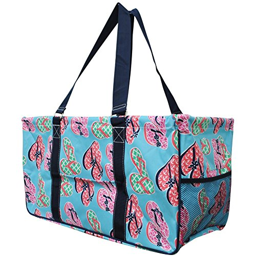 """N. Gil All Purpose Open Top 23"""" Classic Extra Large Utility Tote Bag 2 (Flip Flop)"""