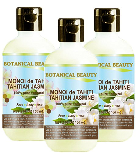 MONOI de TAHITI TAHITIAN JASMINE OIL 100 % Natural / 100% PURE BOTANICALS. 2 Fl.oz.- 60 ml. For Skin, Hair and Nail Care. (Oil Jasmine Dry)