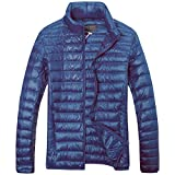 quilting filling - The Plus Project Men's Plus Size Lightweight Down Jacket with Stand Collar 2X-Large Navy