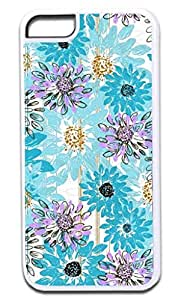 Flowerbed Scribbles-Blue- Case for the APPLE IPHONE 5c ONLY!!!-Hard White Plastic Outer Case