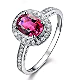 Beatiful Solid 14K White Gold Diamond Gemstone Pink Tourmaline Wedding Engagement Band Ring Set for Women