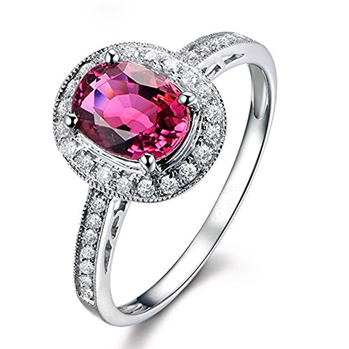 Beatiful Solid 14K White Gold Diamond Gemstone Pink Tourmaline Wedding Engagement Band Ring Set for Women by Kardy