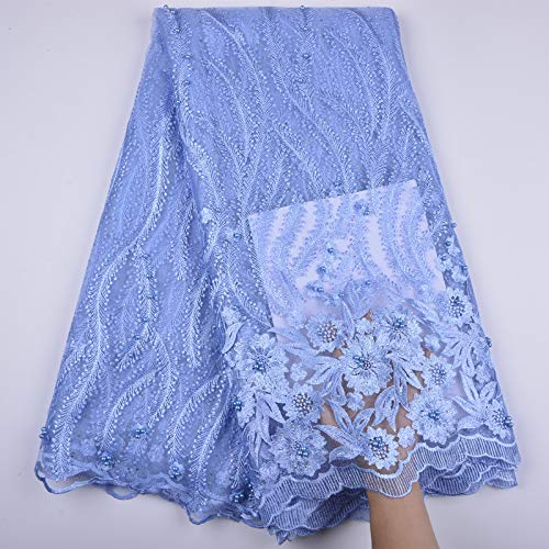 3 Yards African Lace Fabric Nigerian French Beaded Lace Net Fabric Embroidered Fabric for Wedding Party Dress Corded Guipure K7 (Sky Blue)) (Beaded Net)