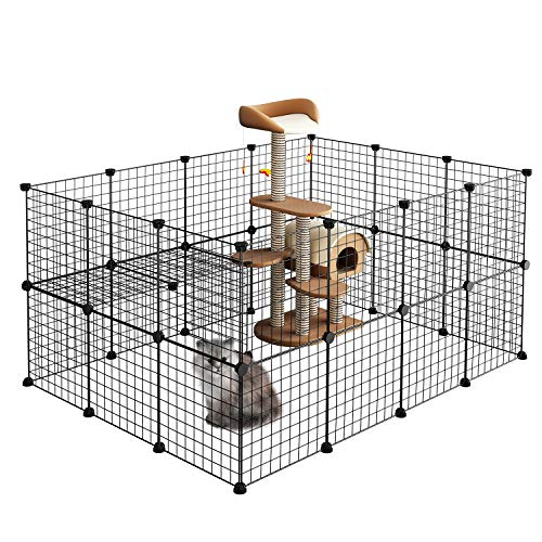 LANGRIA Pet Playpen, DIY Small Animal Cage for Guinea Pigs, Puppy,Rabbit   Pet Products Portable Metal Wire Yard Fence (Black) (Small Portable Cage Animal)