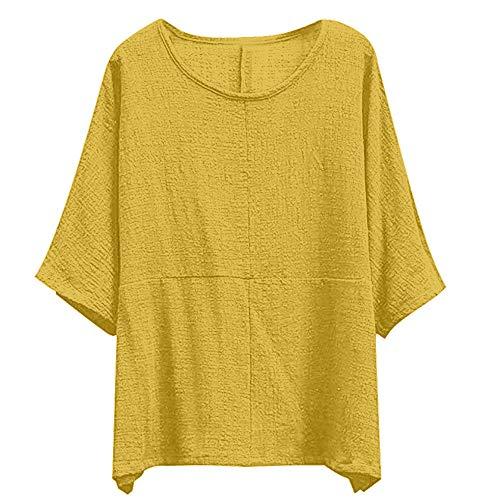 Over Chic Grande Femme Dames Tunique Jaune Shirt Femme Coton Longues Chemise Manches T Linge Tops Chemisier Ample LEvifun Sexy Mode Pull Solide Casual de Blouse Automne Taille Hauts x045Ewqwf