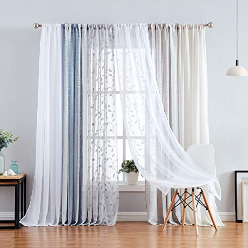 """White Sheer Curtains for Bedroom 84"""" Long Cotton Like Soft Window Curtain Panels with Subtle Linen Textured Look Rod Pocket 2 Panels"""