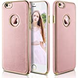 iPhone 6s Case, LOHASIC Ultra Slim [Premium Texture Grip] [PU Leather & Soft TPU & Plating Coated Frame] Seamless Hybrid Elegant Cover Case for iPhone 6s & iPhone 6(4.7 Inch,Rose Gold)