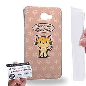 Case88 [Samsung Galaxy A9 (2016)] Gel TPU Carcasa/Funda & Tarjeta de garantía - Art Hand Drawing American shorthair Cartoon Kitten Art1272