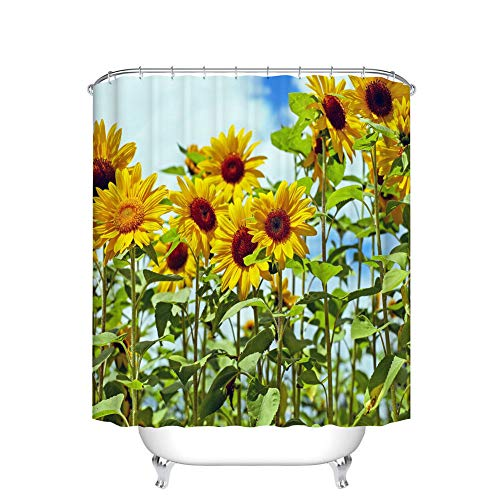 youyoutang Blue Sky, White Clouds, Sunflower Shower Curtain, Waterproof, Quick Dry, 3D HD Digital Printing Does Not Faded, 12 Hooks, 70.8X70.8 Inch, Bathroom Accessories