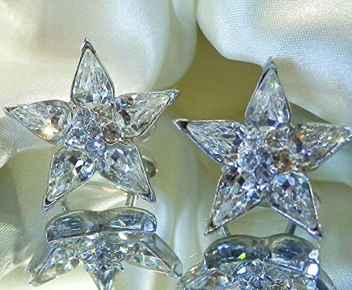 Sparkling Bogoff Signed Star Flower Vintage Rhinestone Screw Back Earrings