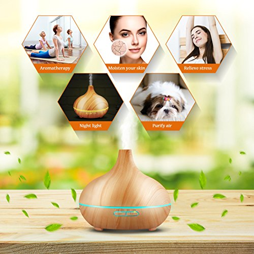 Large Product Image of VicTsing 300ml Cool Mist Humidifier Ultrasonic Aroma Essential Oil Diffuser for Office Home Bedroom Living Room Study Yoga Spa - Wood Grain
