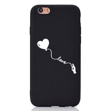 Rongecr Funda Negro con iPhone 6s, Carcasa Silicona TPU Suave Ultra Delgado Flexible Antideslizante Patrón Noble iPhone 6 Soft TPU Case, Amor Globo