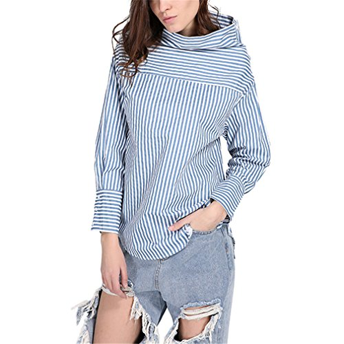 BBBai Women Striped Long Blouse Turtleneck Two Sides Buttons Design Shirt Oversize Blue Female Tops