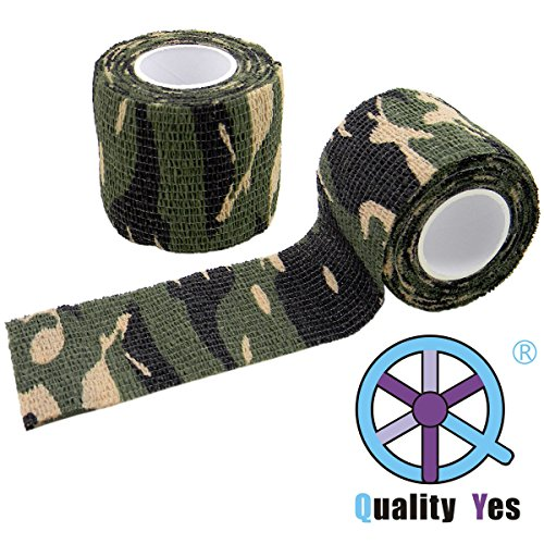 Woodland Camo Pattern (QY Highly-flexible Ultralight Retractable Outdoor Camouflage Self-adhesive Non-woven Fabric Wrap Camouflage Stealth Tape for Hunting Outdoor Camouflage, Woodland Jungle Camouflage Pattern)