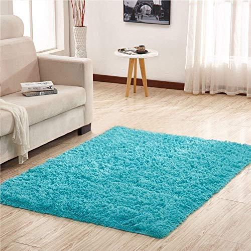 YJ.GWL Soft Shaggy Area Rugs for Bedroom Kids Room Children Playroom Non-Slip Baby Nursery Carpets Home Decor 4 x 5.3 Feet (Turquoise Blue)