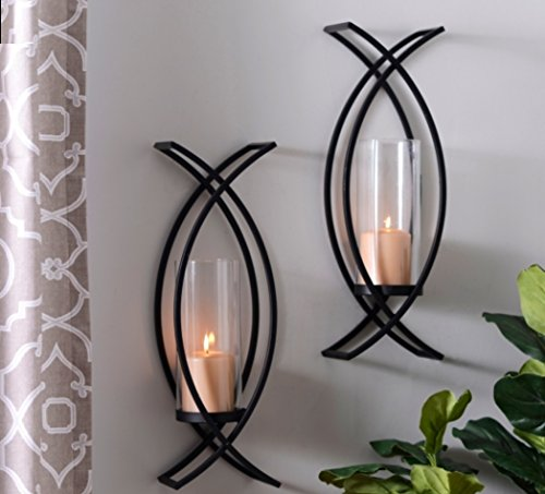 Set of Two Metal Wall Sconce Home Decor (Set Sconces Wall Decor)
