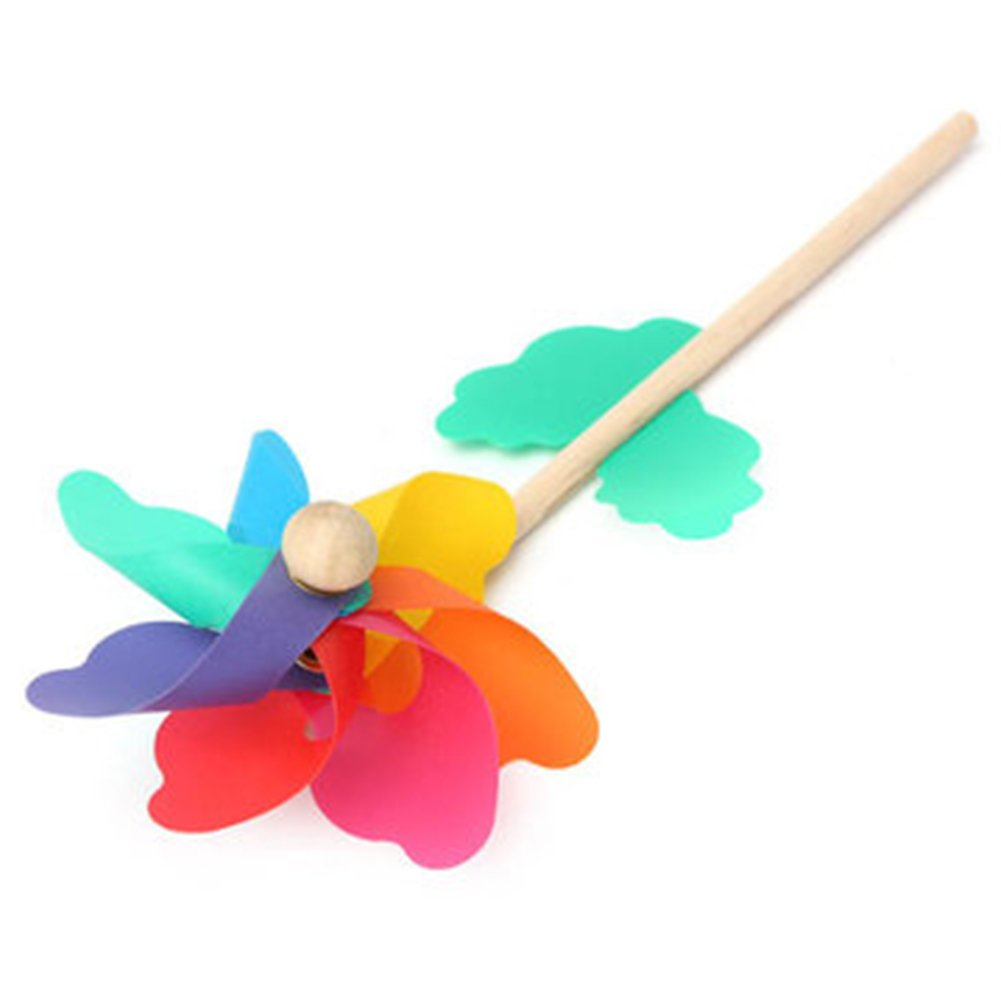 Colorful PVC DIY Wooden Windmill Home Garden Party Wedding Decoration Kid Toy