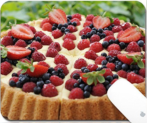(Luxlady Natural Rubber Gaming Mousepads Fruit tart pie with fresh raspberry and blueberry 9.25in X 7.25in IMAGE: 25714897)
