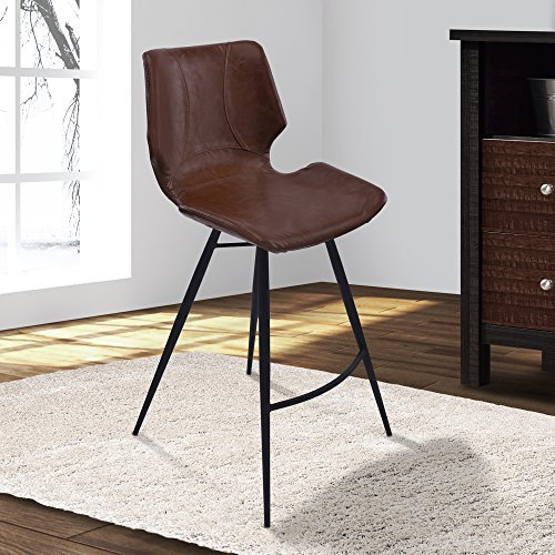 Armen Living LCZUBAVCBL26 Zurich 26 Counter Height Barstool in Vintage Coffee Faux Leather and Matte Black Metal Finish