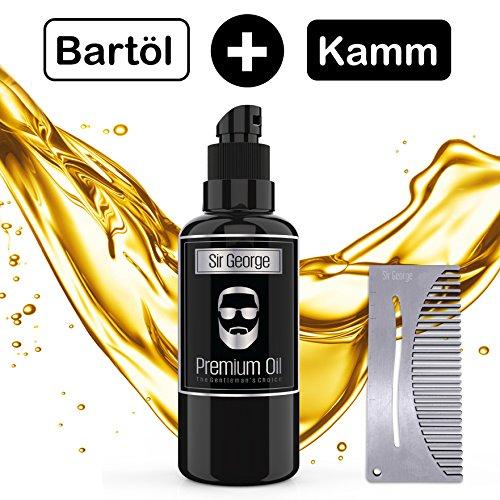 Premium Bartöl zur Bartpflege 60ML MIT GRATIS KAMM. Natürliches Bart Öl DUFT NEUTRAL für Vollbart & Dreitagebart. Pflege, Glanz & Feuchtigkeit garantiert, Juckreiz elemeniert. Ihr Bart gesund & weich