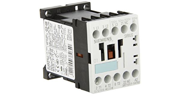 120V at 60Hz and 110V at 50Hz AC Coil Voltage Voltage 1 NC Auxiliary Contact Screw Terminals 3 Poles S00 Frame Size Siemens 3RT10 17-1AK62 Motor Contactor
