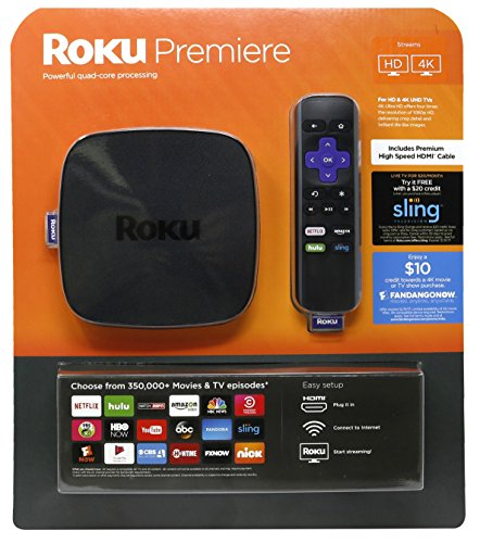 Roku Premiere Bundle   4K Uhd Streaming Media Player  Quad Core Processor  Dual Band Wi Fi  And Ir Remote   Bundle Includes  Hdmi Cable   20 Sling Tv And  10 Fandangonow Credit  Expires 12 31 17