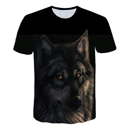 d63109575 JJLIKER Unisex 3D Print T-Shirts Wolf Graphic Tees Funny Creative Short  Sleeve Tops Tee