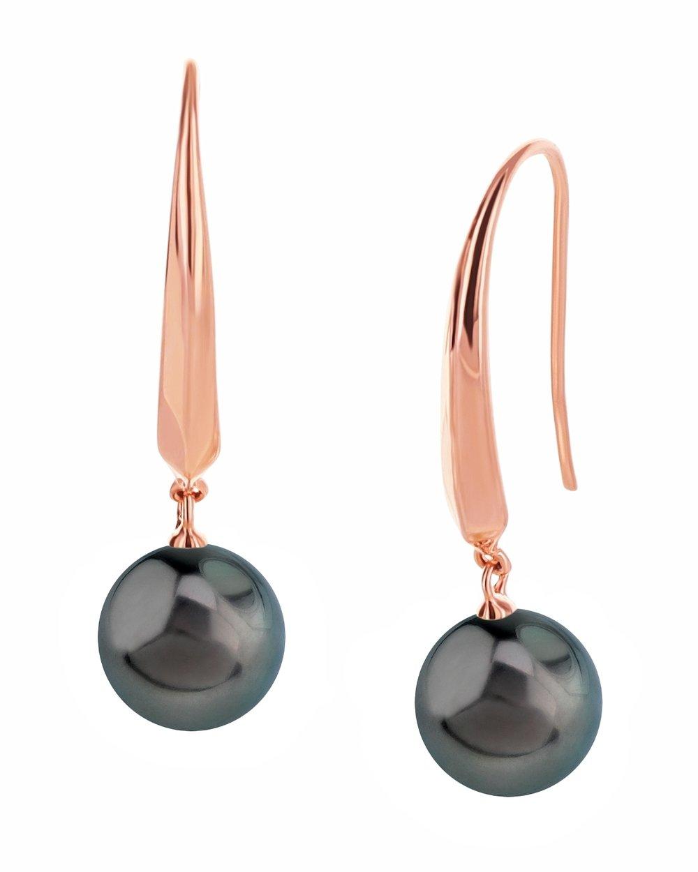 10mm Tahitian South Sea Cultured Pearl Rose Gold Plated Selena Dangle Earrings
