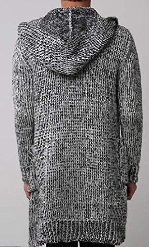 HenShiXin Bieten Męskie Strickjacke Herbst Winter mit Kapuze Mittellang Cardigan Sweater Mantel Schnell (Farbe: Grau, Größe: M): Küche & Haushalt