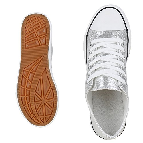 Trendige Unisex Sneakers Low-Cut Modell Basic Freizeit Schuhe Viele Farben Gr. 36-45 Silber Metallic Weiss
