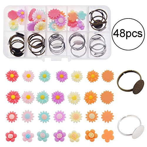 (JJG 1 Box 24pcs Adjustable 12mm Blank Ring Base Settings Round Bezel Finger Ring Components with 24pcs Mixed Flower Resin Flatback Cabochon Kit for DIY Floral Rings Jewelry Making )
