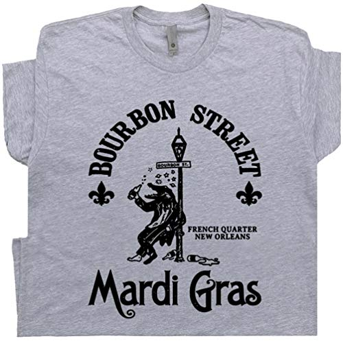 - L - Mardi Gras T Shirt Alligator Tee Gators Drinking Beer New Orleans Famous Bar Pub Vintage Men Women Bourbon Street Gray