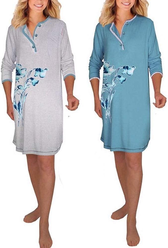 Gr. DW145//6 50-52 Baumwolle Jersey Damen Langarm Nachthemd 2 Stück = 1 Preis