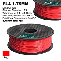 Century 3D PLA Printer Filament 1.75mm 1kg spool 2.2 pounds Dimensional Accuracy +/- 0.05 mm (Red) from Century Products