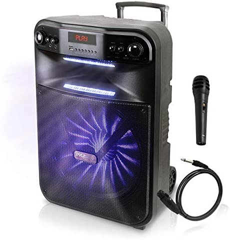 Pyle Wi-fi Moveable PA System-600W Bluetooth Suitable Battery Powered Rechargeable Out of doors Sound Speaker Microphone Set with MP3 USB SD FM Radio AUX, LED Dj Lights, Wheels (PWMA447BT)