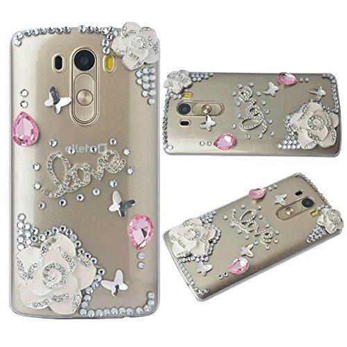 online retailer 1514b 7b0dc LG G Stylo Case,LG LS770 Case,LG G4 Stylus Case,Luxury Bling Diamond  Crystal Rhinestone Camellia Phone Case Cover For LG G Stylo/LG LS770/LG G4  Stylus