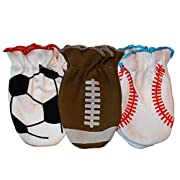 Sozo Baby Boys No Scratch Mittens-Sports, Multi, 0-3 Months