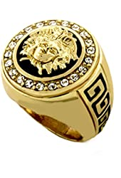Hip Hop Medusa Head Gold Tone Men Ring #2