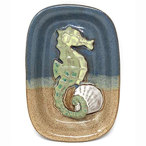 MudWorks Pottery Seahorse Soap Dish, Blue/Multi ()