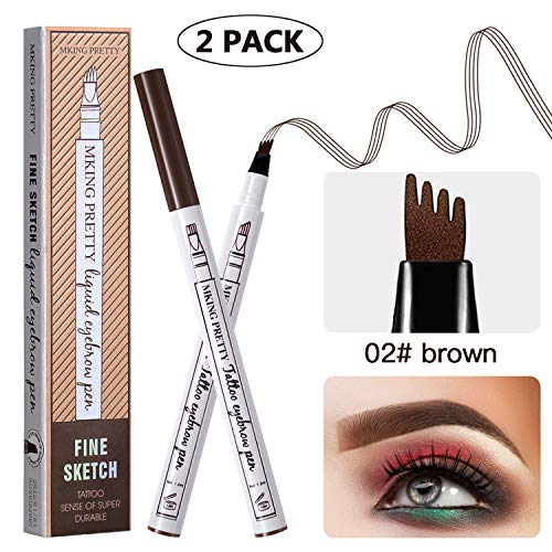 (BAYCHEER 2 Pcs Tattoo Eyebrow Pen, Waterproof Microblading Eyebrow Pencil with Fork Tip Applicator Creates Natural, Stays on All Day for Eyes Makeup-Brown)