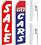 Car Auto Dealer Swooper Flutter Feather Flags & Poles 2 Pack-SALE-Used Cars