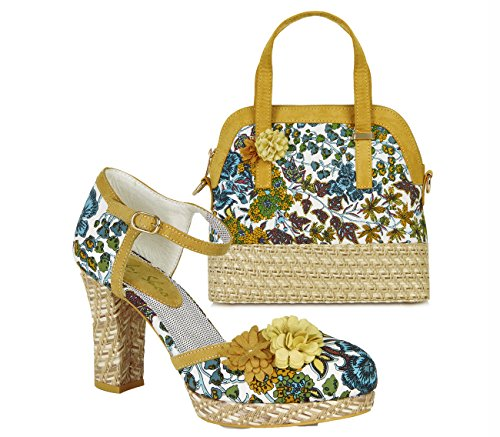 Ruby Shoo Women's Mango Floral Flo Platform Bar Shoe & Lyon Bag UK 7 EU (Blue Suede Shoes Bar)