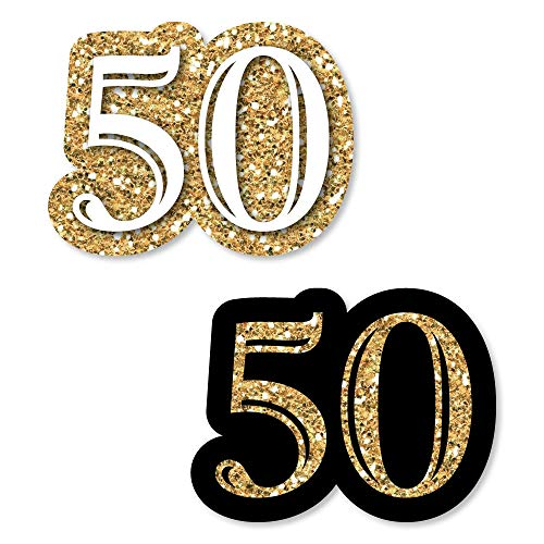 Big Dot of Happiness Adult 50th Birthday - Gold - DIY Shaped Birthday Party Cut-Outs - 24 Count