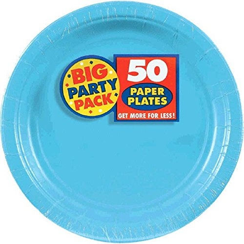 Amscan Caribbean Blue Dessert Paper Plate Big Party Pack, 50 Ct. ()