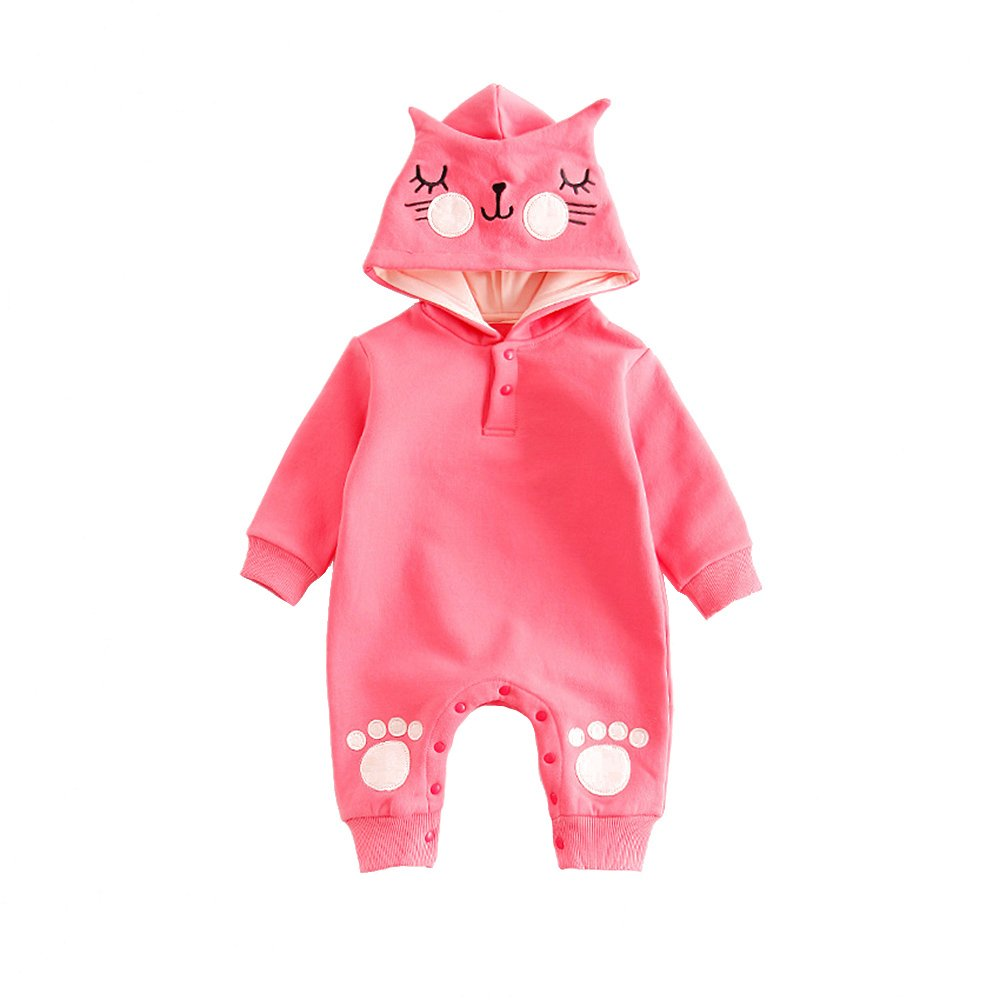 TRIEtree Children's Clothing Newborn Baby Cartoon Cute Conjoined Long Sleeves Crawling Clothes size 70cm (Pink)