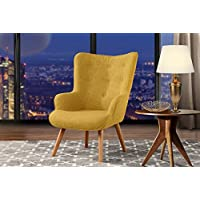 Accent Chair for Living Room, Upholstered Linen Arm Chairs with Tufted Button Detailing and Natural Wooden Legs (Yellow)