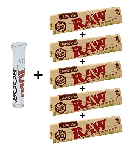 RAW Organic Hemp Natural Unrefined Rolling Paper - King Size Slim 110mm Size (6 Packs) (Papers Size King Raw)